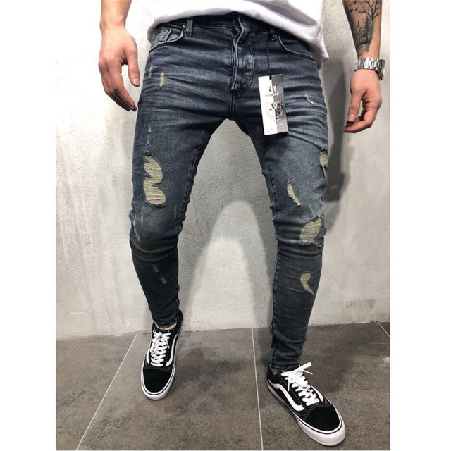 2019 Men Stylish Ripped Jeans Pants Biker Slim Straight Hip Hop Frayed Denim Trousers New Fashion Skinny Jeans X2302 1