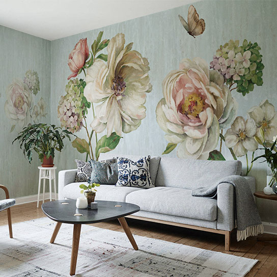 Bacal Original Design Butterfly Flower Murals Wallpaper ...