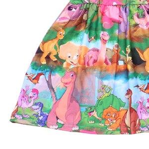 Image 2 - Neue Ankünfte Baby Mädchen Sommer Bunte Dinosaurier Druck Kleid Milksilk Dinosaurier Welt Kurzarm Kleidung Kinder Boutique Tragen