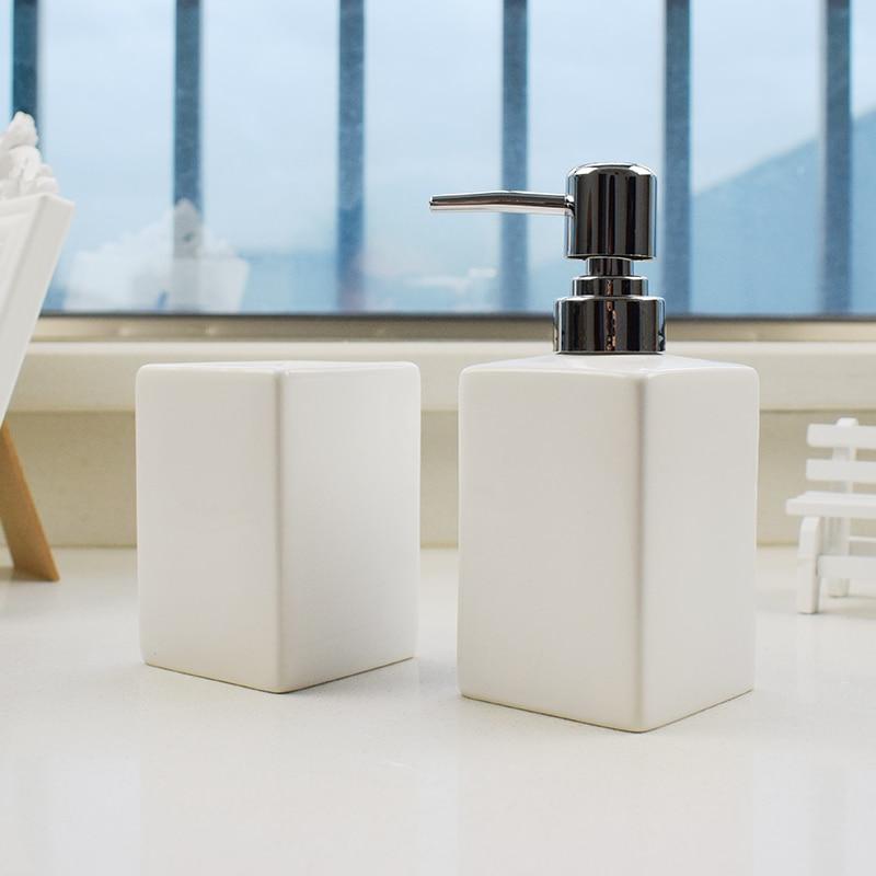 China Ceramic 2 pcs White Soap Dispenser for Kitchen Bathroom  Home Decoration Hand Sanitizer Bottle Cup Lotion BottleBathroom  Accessories Sets