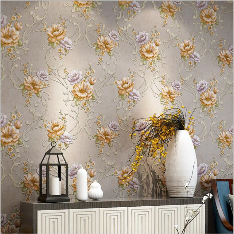 beibehang American pastoral three-dimensional relief embossed large flower non-woven wallpaper home improvement background home improvement