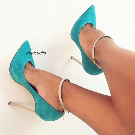 Women Delicate Green Suede Thin High Heels Simply Buckle Style Metal Stiletto Heel Pumps Sexy Pointy Dress Shoes Hot Selling