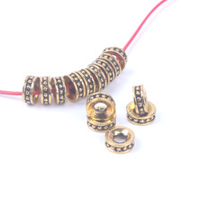 50pcs/lot 6mm 8mm Ancient gold spacer beads supplies for necklace bracelet making metal findings wholesale jewelry accessories