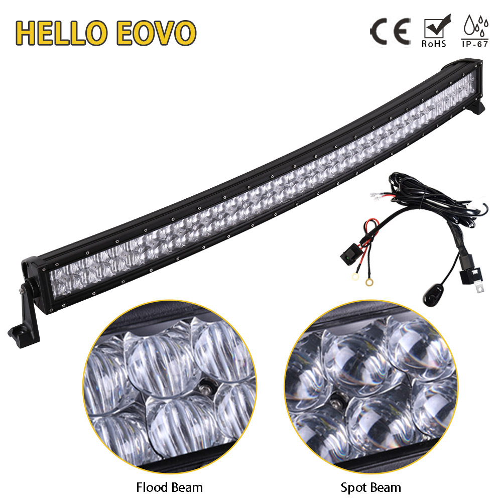 цена на HELLO EOVO 5D 42 inch Curved LED Light Bar LED Bar Work Light for Driving Offroad Boat Car Tractor Truck 4x4 SUV ATV 12V 24V