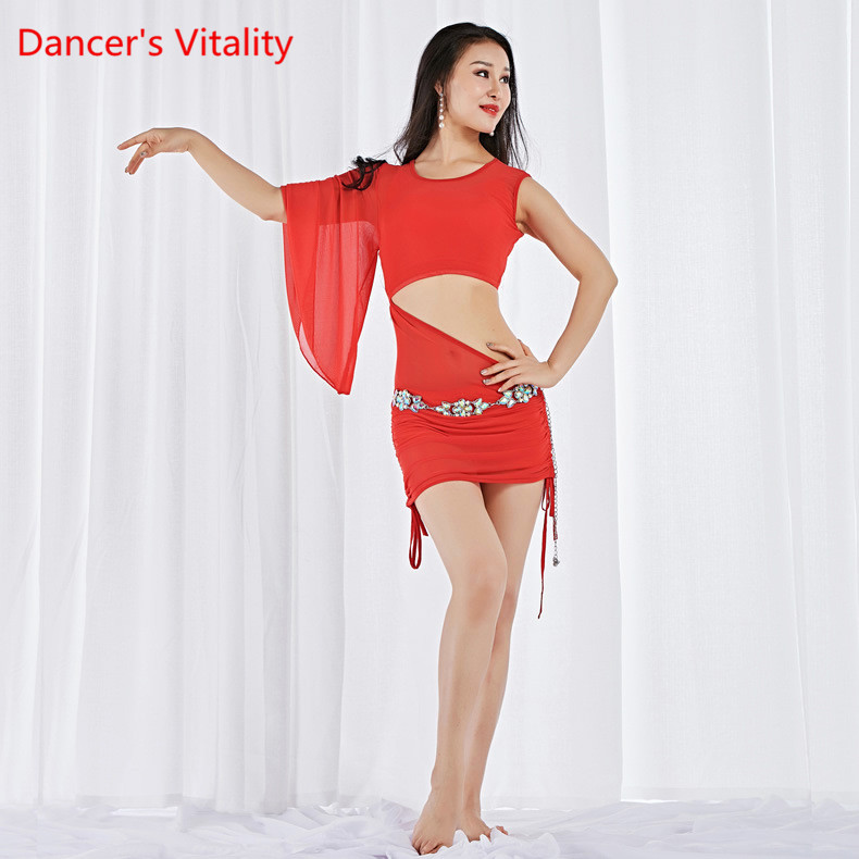2018 Belly Dancing Clothes For Women Class Clothes Long Skirt Elastic Outfit Milk Fiber One Shoulder Dresses For Belly Dancing