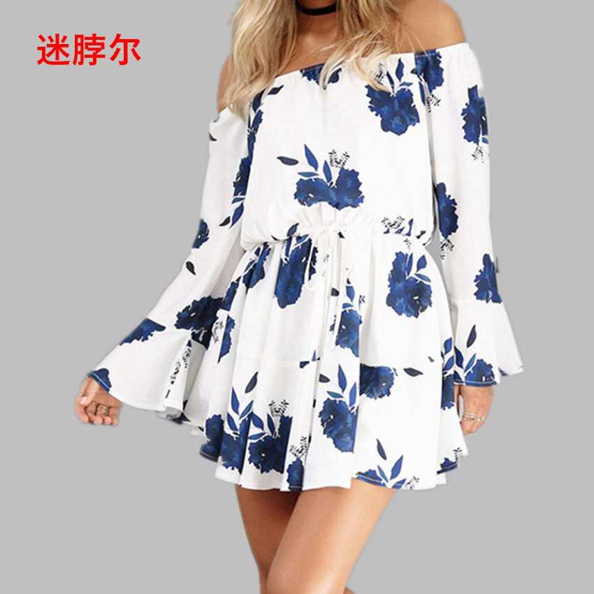2017 new word shoulder sexy back print dress mini casual dress women vestidos clothing