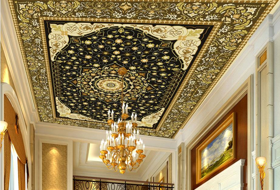 custom 3d ceiling Flower pattern art 3d ceiling murals for living room 3d wallpaper ceiling for bathroom window soundproofing