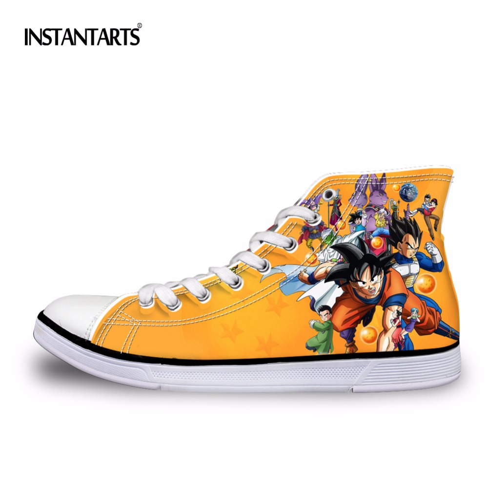 INSTANTARTER Mote Anime Dragon Ball Z Skriv ut Menn High-Top Vulcanized Shoes Cool Super Saiyan Son Goku Lerret Sko til Menn Gutt