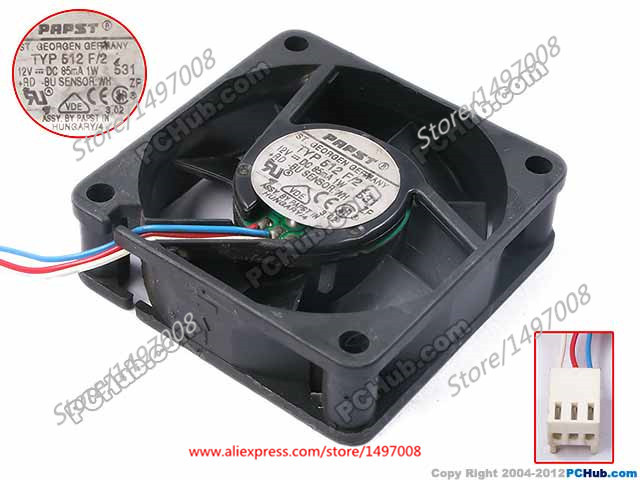Free Shipping For ebmpapst  TYP 512 F/2, TYP512F/2  DC 12V 1W 3-wire 3-pin connector 60mm 50x50x15mm Server Square Cooling fan free shipping for delta aub0512lb cp54 dc 12v 0 11a 2 wire 2 pin connector 70mm 50x50x15mm server square cooling fan