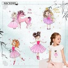 Nicediy Unicorn Cartoon Girl Patch Heat Transfer For Clothing Stickers Ironing Transfers Garment accessories Applique DIY