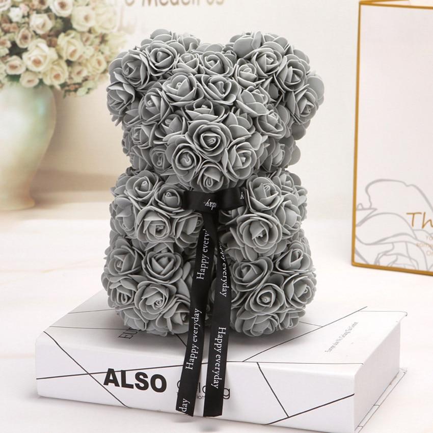 Горячая Распродажа, подарок на день Святого Валентина, 25 см, красная роза, плюшевый мишка, цветок розы, искусственное украшение, рождественские подарки для женщин, подарок на день Святого Валентина - Цвет: Gray 25cm No Box