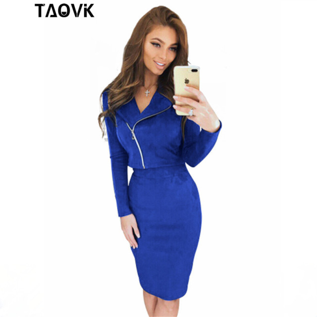 TAOVK skirt Suit Open Fork spring autumn zipper package hip jacket + skirt 2 two Piece Set Suede sets