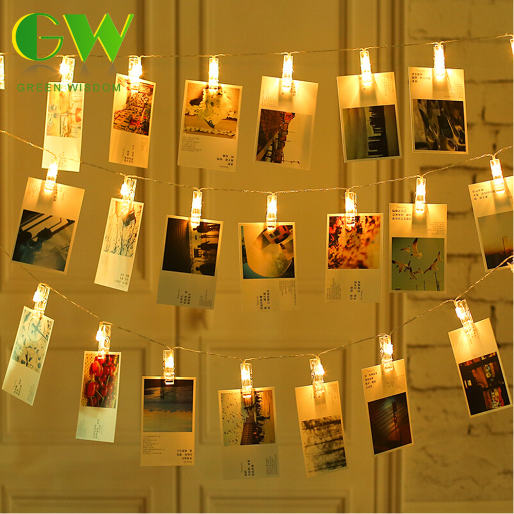 Photo Clip Holder LED String Lights Battery Powered/USB 1M 4M 10M Christmas New Year Party Wedding Home Decoration Fairy Lights
