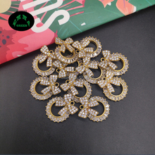 Bow Zircon Charms Pendant Knot Bowtie Crystal Gold Color Brass Earrings Charm DIY Jewelry Making Findings 19*15.2 mm 10 pcs