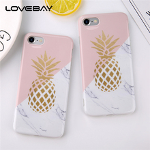 Lovebay Phone Case For iPhone X 8 7 6 6S Plus Cartoon Gold Pineapple Marble Texture Geometric Splice Soft IMD Cover For iPhone 6