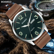 2019 boamigo top luxury brand men military fashion sport business quartz watch man casual brown leather wristwatches waterproof(China)