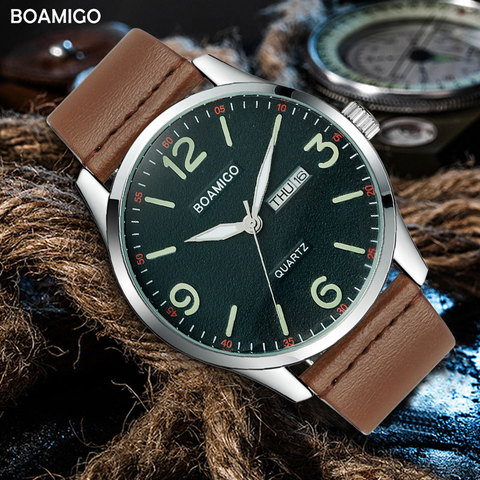 Topo da Marca de Luxo Relógios de Pulso à Prova Boamigo Masculino Militar Moda Esporte Negócio Quartzo Relógio Homem Casual Couro Marrom Dwaterproof Água 2020