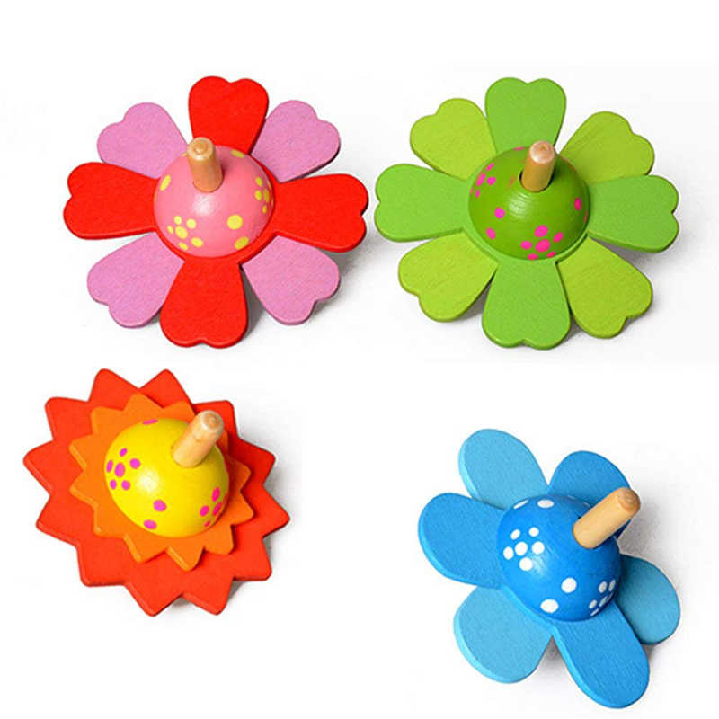 Children Classic Toys Flower Wooden Spinning Top Kids Traditional Intelligence Development Educational Toys Christmas Gift