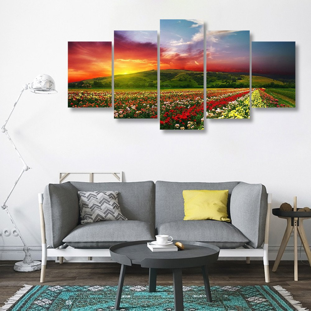 5 Panels HD Printed Flower floral fields Painting Canvas Print Room decor print poster Picture Canvas Wall art P0838