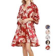 Комплект женской ночной рубашки из искусственного шелка с рукавом
