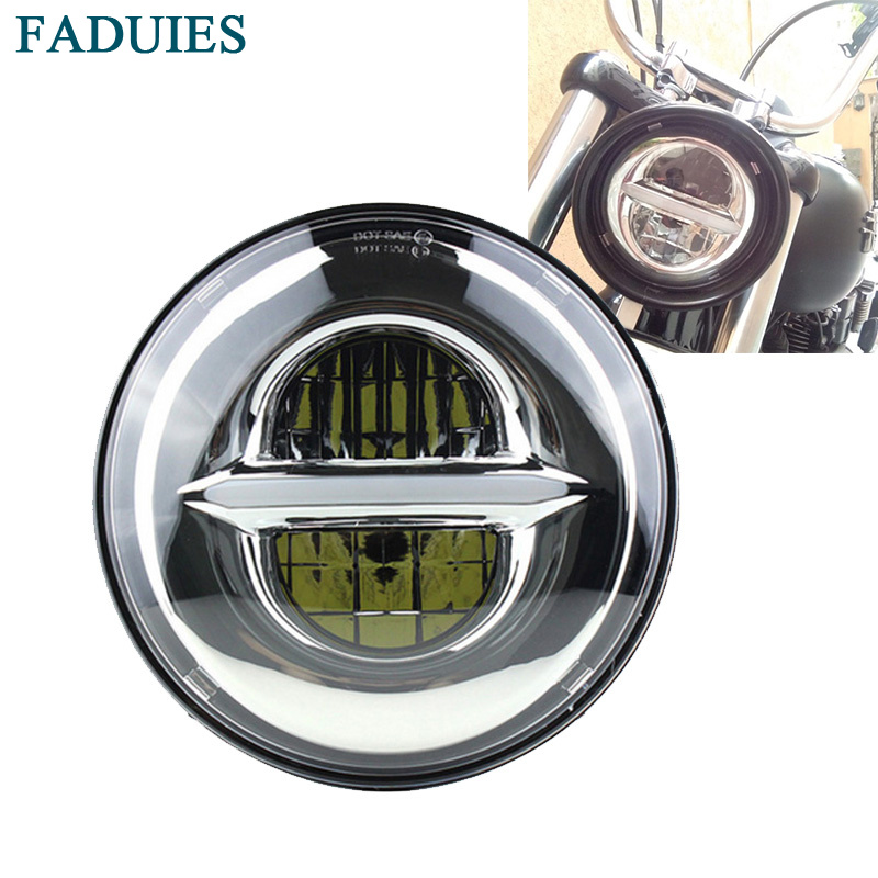 "FADUIES Motorcycle accessories Chrome 5-3/4"" Round Angel Eye LED Headlight 5.75 inch Headlamp For Harley Sporster 1200 883"