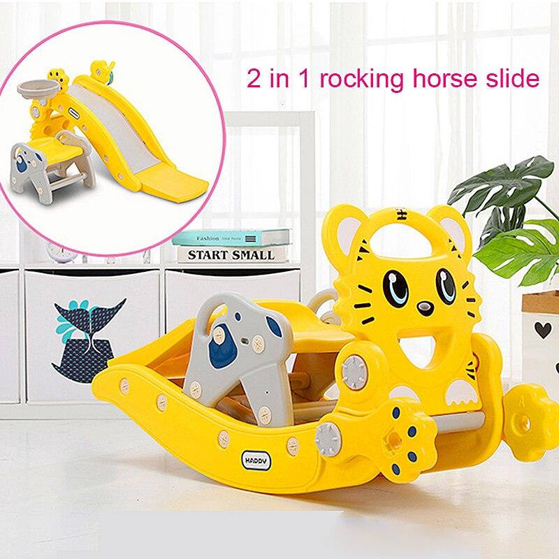 2 en 1 cheval à bascule toboggan Trojans bébé monter sur jouets bébé Rocker Jumper chaise berçante 1-3 ans bébé anniversaire nouvel an cadeau