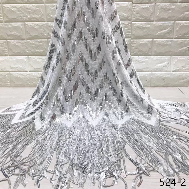 Sequins Lace Fabric 2019 High Quality African Tassel Lace Fabric Wholesale French Sequins Net Lace Fabric For Women Dress 524Sequins Lace Fabric 2019 High Quality African Tassel Lace Fabric Wholesale French Sequins Net Lace Fabric For Women Dress 524