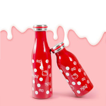 Edelstahl Vakuumsauger Isolierung Tasse Hallo Kitty Milch Tasse Cute Cartoon Tragbare Milch Topf 500 ml 350 ml Rot rosa