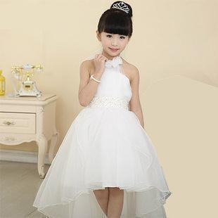 4c198b0be Beautiful white halter vestido de daminha floor length flower girl ...