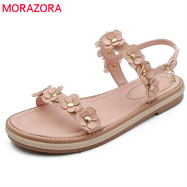MORAZORA 2018 new arrive hot sale women sandals summer fashion flower flat  sandals simple buckle comfortable elegant shoes woman