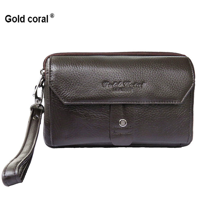 98e2f97118 High quality gold coral new arrival Brand genuine leather men s clutch bag  fashion men Clutches wallet mobile phone bag handbags