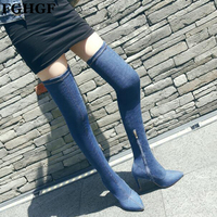 Sexy Over Knee Boots Autumn Winter Women Thigh High Boots Fashion Ladies High Heels stretch Long Boots Motorcycle boots Y381