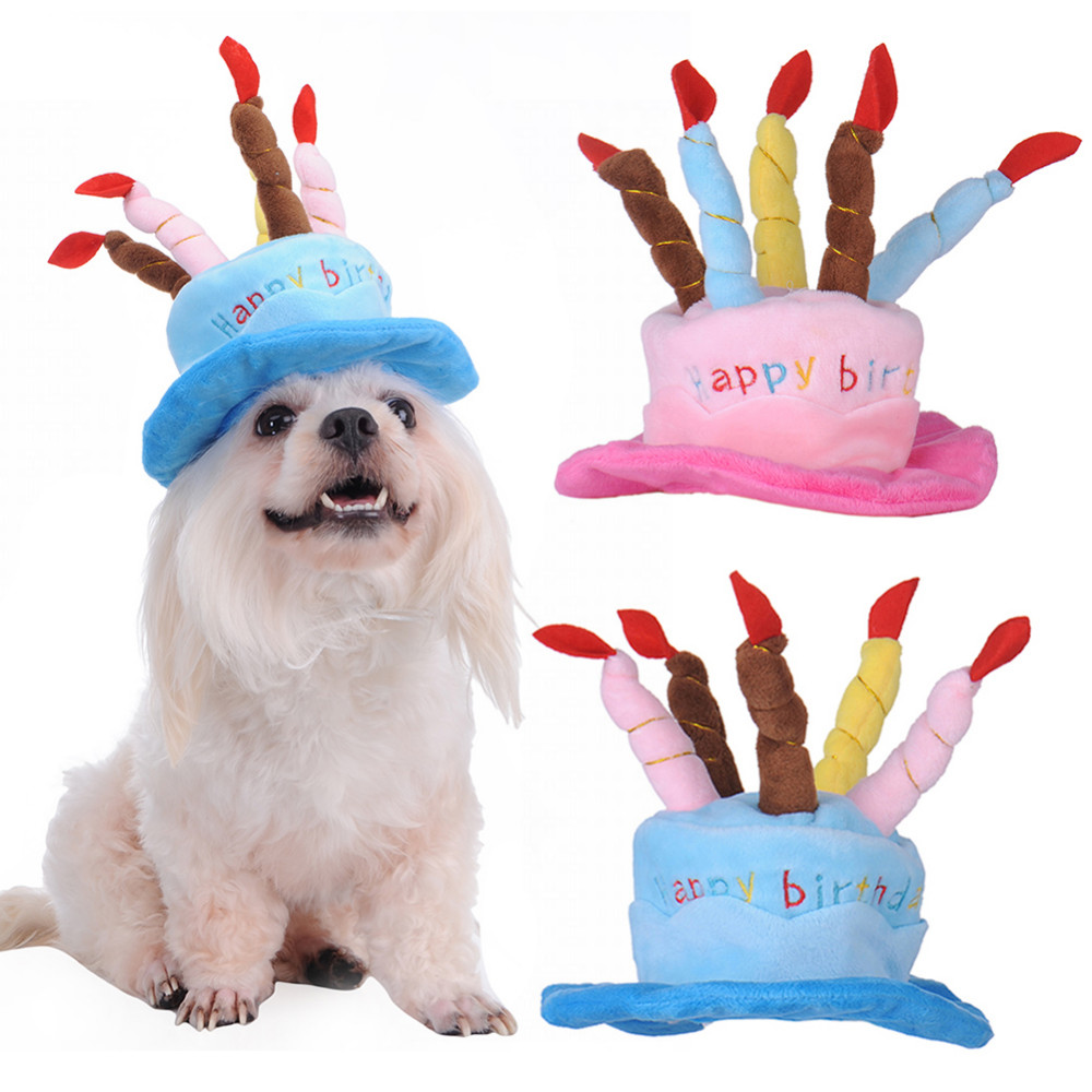 Winter Fleece Dog Pet Hat Happy Birthday Cake Caps For Small Large Dogs Cat Gift Halloween Cosplay Headwear Grooming Accessories