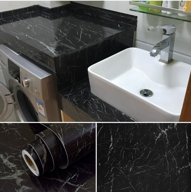 Black Marble Self Adhesive Wallpaper Furniture Tiles