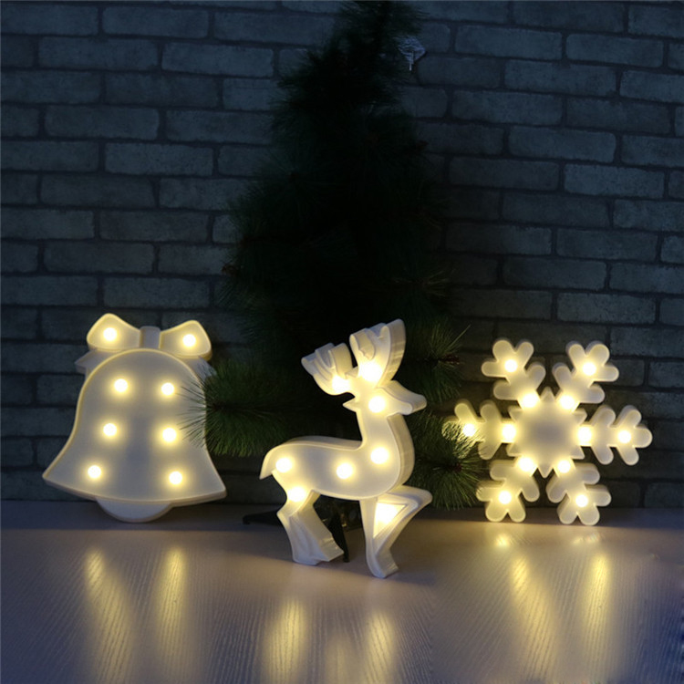 LED Lamp 3D Night Lights Marquee Treelet Snowflake Bell Davids Deer LED Letter Night Lamp Baby Bedroom Decoration Kids Gift in LED Night Lights from Lights Lighting