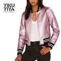 YIKUYIYA Novo Revestimento Das Mulheres Da Moda 2017 Rosa Metálico Contraste PU Jaqueta de Patchwork Bolso Lateral Moldar Casuais Casaco Com Zíper