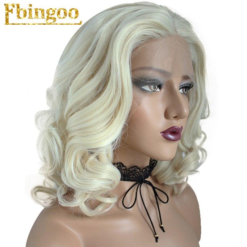 Ebingoo High Temperature Fiber Peruca Perruque 613 Short Body Wave Full Hair Wigs Blonde Bob Synthetic