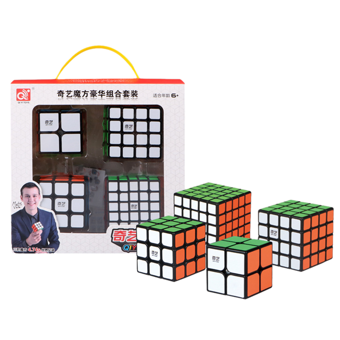 Qiyi Bundle Black Knight 2x2 3x3 4x4 5x5 Speed Cube Set Cube Pack Puzzle Speed Cube Magic Fidget Toy Gift Box Christmas Gifts z cube bundle black knight 2x2 3x3 4x4 5x5 speed cube set cube pack puzzle carbon fiber cube magic fidget toy gift box