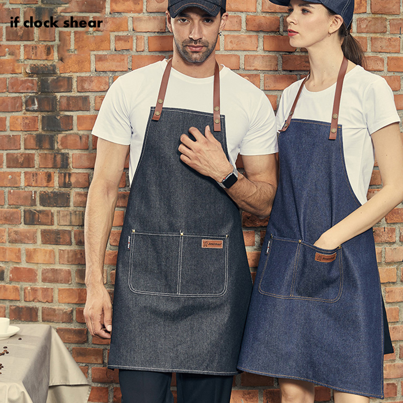 IF New Chef Apron Fashion Cooking Apron For Kitchen Apron For Woman Men Chef Waiter Cafe Shop BBQ Hairdresser Tools Denim Aprons