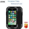 Amor mei waterproof case para iphone 7 case choque de metal casos de teléfono para iphone 7 7 plus cubierta del teléfono del bolso case