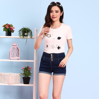 2017 Women Fashion 4 Buttons Elastic High Waist Denim Shorts Plus Size Lady Cute Blue Jeans