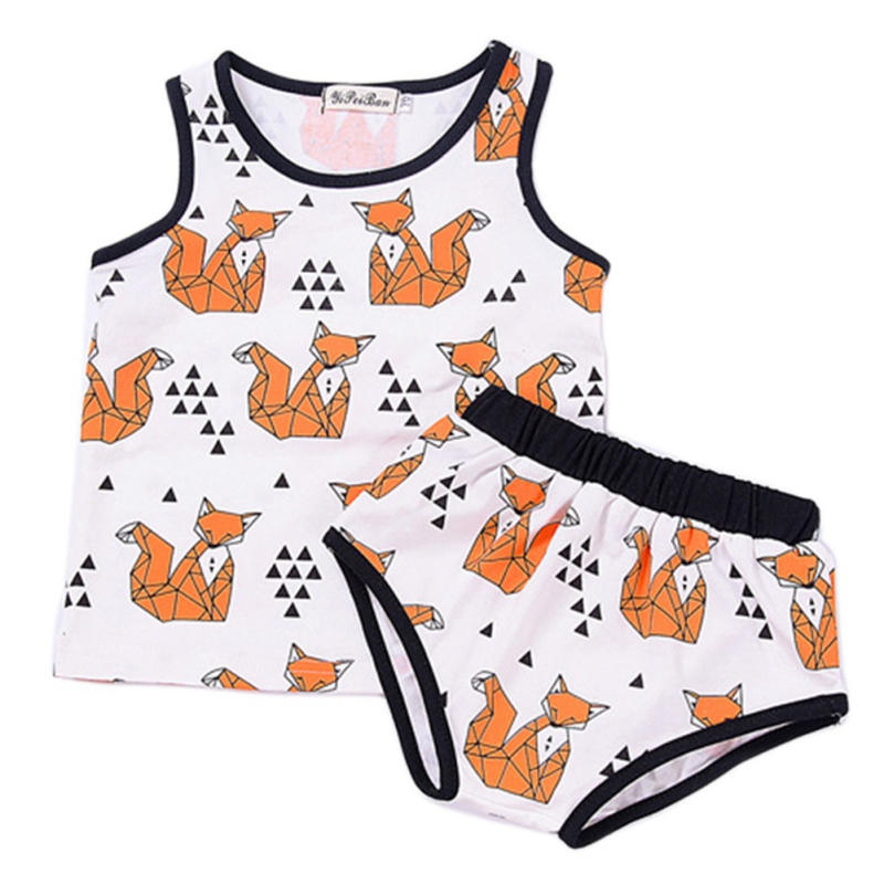Newborn Cartoon Summer Baby font b Boy b font Girl Clothing Set font b Tank b