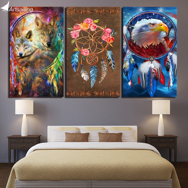 Hd printed 3 piece canvas art dreamcatcher painting wolf eagle hd printed 3 piece canvas art dreamcatcher painting wolf eagle posters wall pictures for living room voltagebd Images