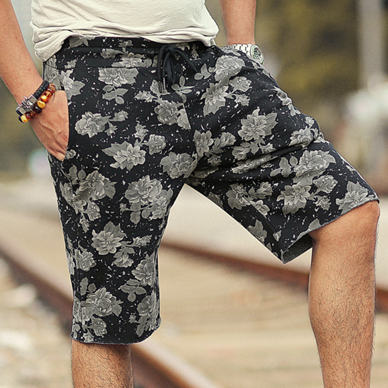 Men summer printed flower casual loose European style black quick dry shorts men cotton  ...