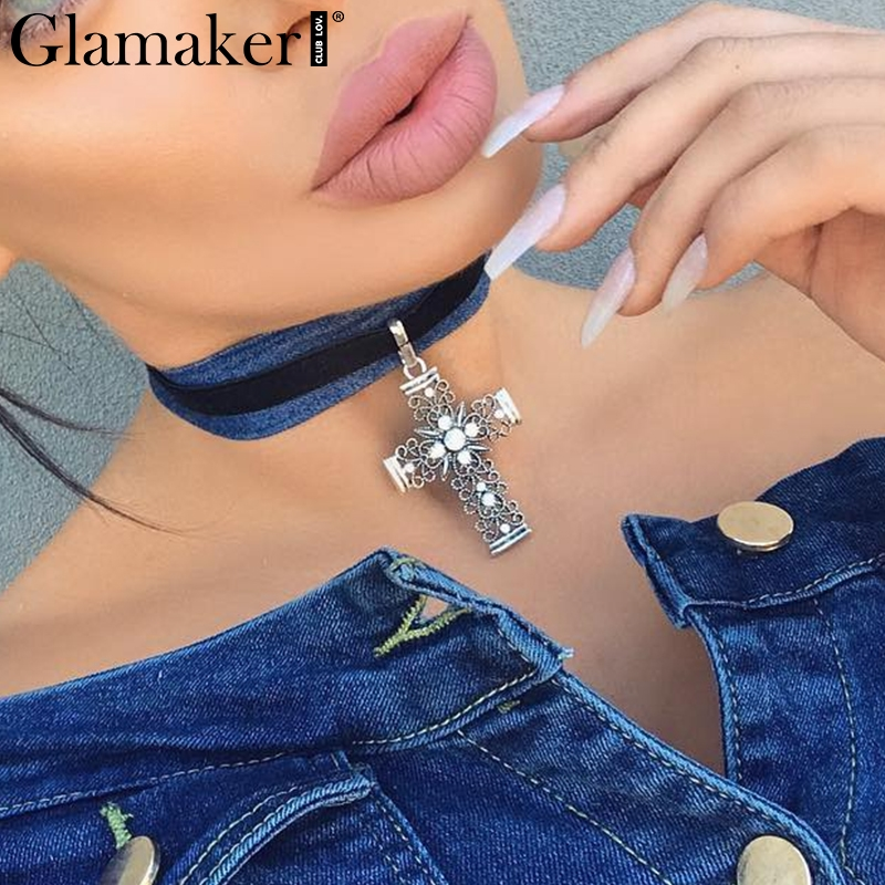Glamaker Fashion suede silver cross choker necklace Female chic big pendant women necklace Fine jewelry party club accessories