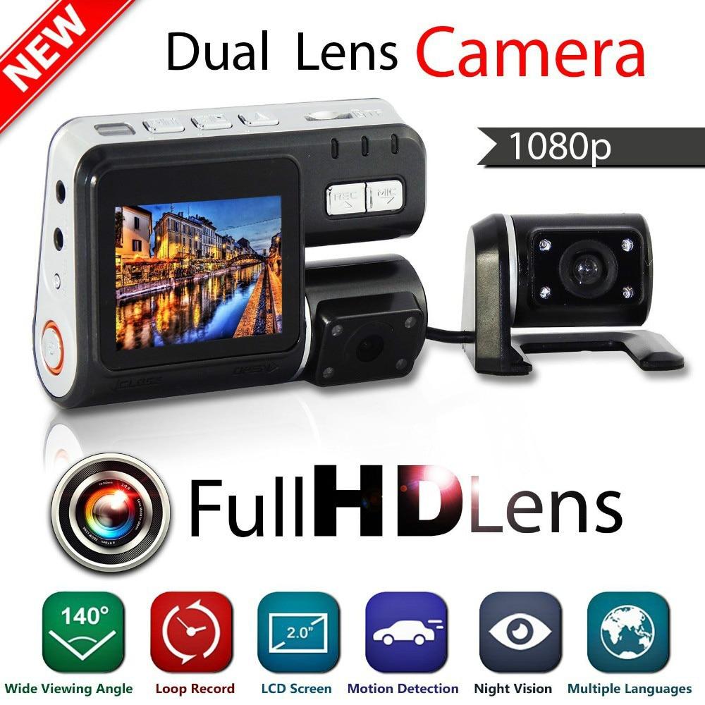 New I1000 Dual camera Car dvr Camcorder i1000 Auto HD 1080P Dash Cam Black Box Driving Recorder With Parking Rear lens Cameras