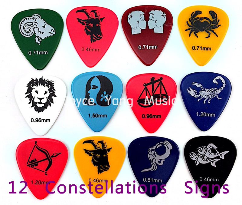 Lots of 100pcs Twelve Constellations Celluloid Acoustic Electric Guitar Picks Plectrums Free Shipping
