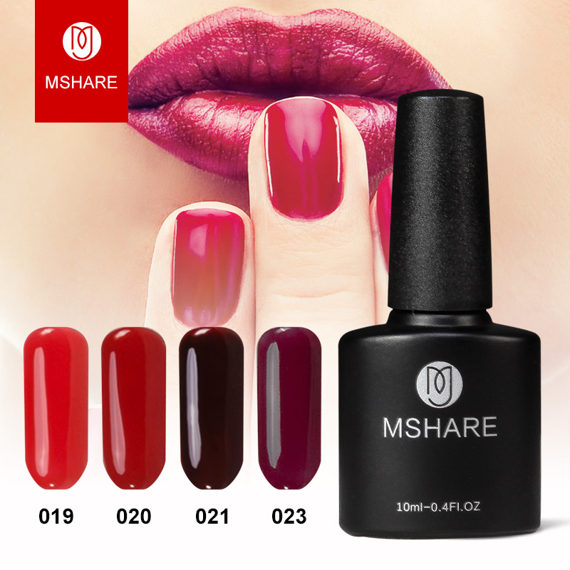 MSHARE Bordeaux Red tie 10 ml Rödvin UV gel nagellack nagellack guld - Nagel konst
