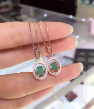 Natural green emerald pendant S925 silver Natural gemstone Pendant Necklace trendy Simple round women party fine
