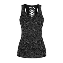 купить Black T Shirt Vests Women Casual Floral Round Neck Back Hollow Out Tops Vest Tops 3D Flower Mandala Full Print Top Sexy Summer дешево